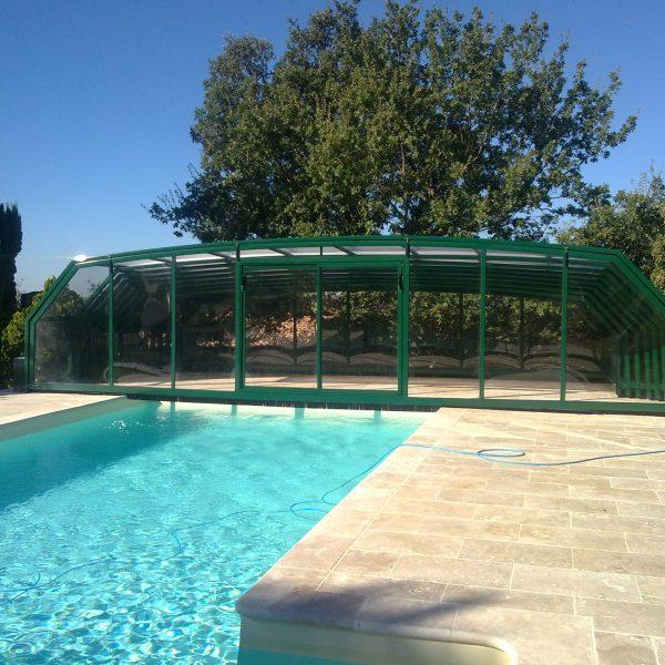 abri piscine haut coulissant vert