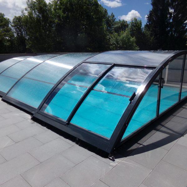 Abri piscine couleur for Abris piscine coulissant sans rail