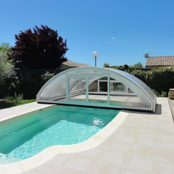 abri piscine sans rail au sol
