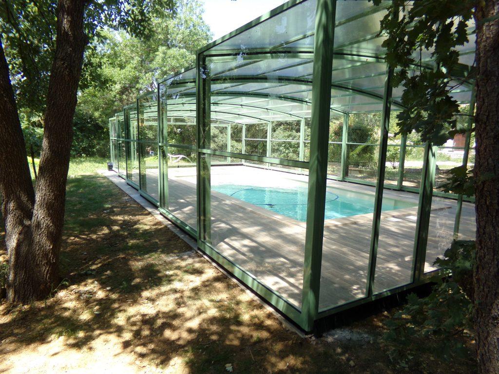 abri piscine haut vert