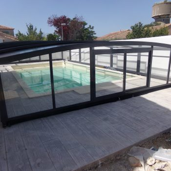 abri piscine sans rail anthracite